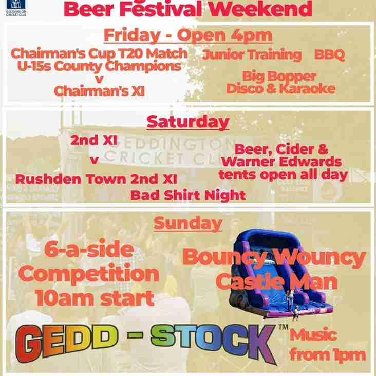 Geddington Cricket Club 2018 Beer Festival Weekend Information: