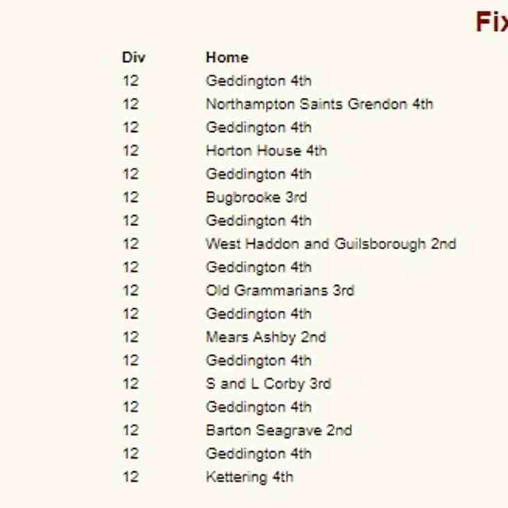 Geddington 4th XI 2019 NCL Division 12 Fixtures Released