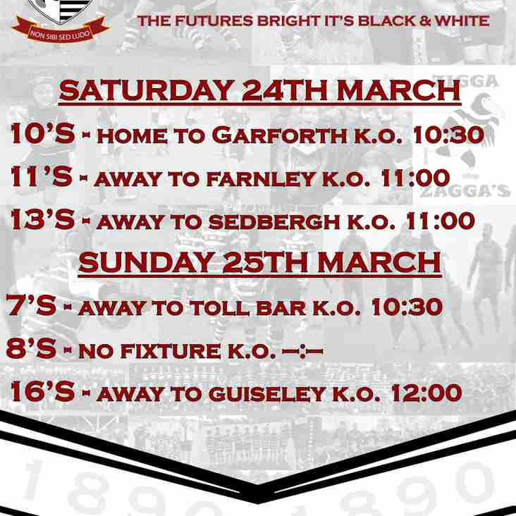 This weekends Junior Fixtures