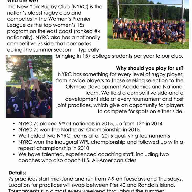 Come Play 7s with NYRC Women This Summer!