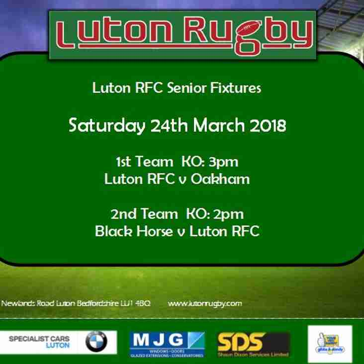 Senior Fixtures 24th March 2018