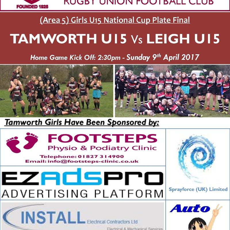 Under 15's Girl's National Cup Plate Final Sunday 9th April