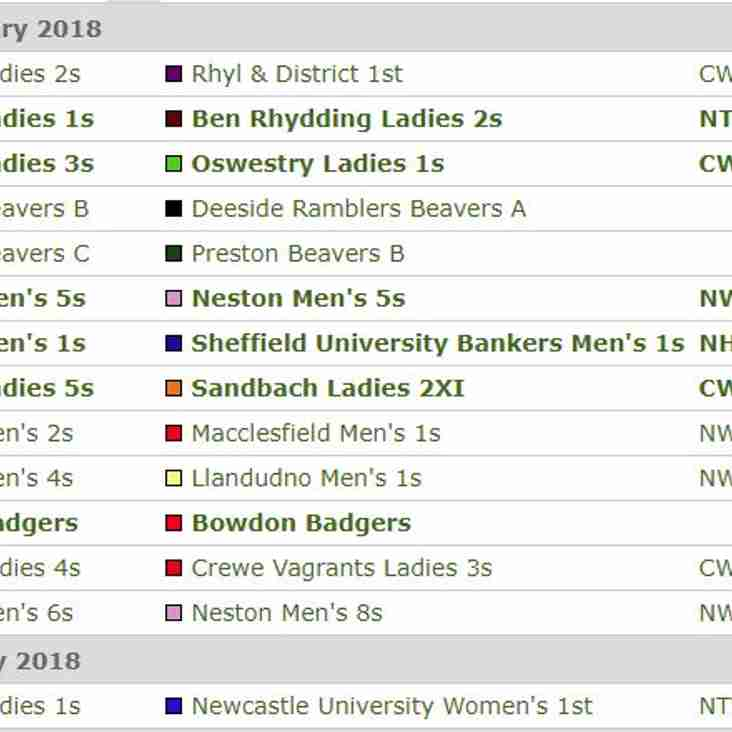 Fixtures for Saturday 24th and Sunday 25th February