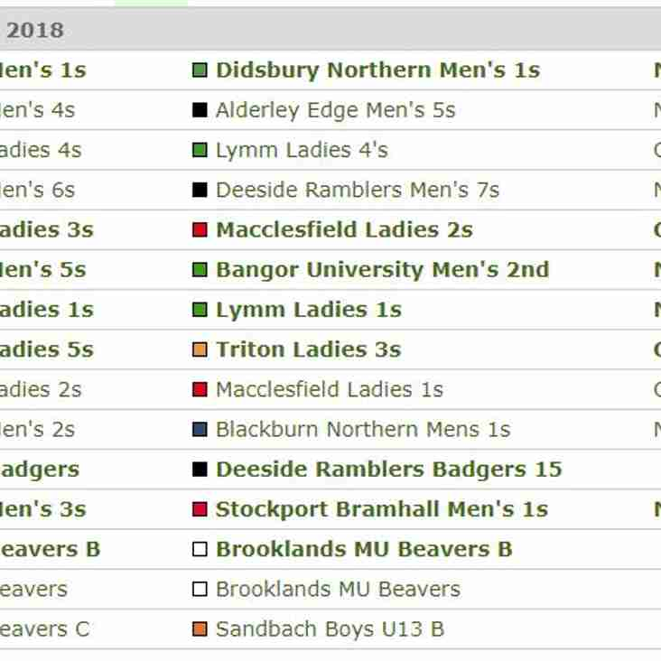 Fixtures for this Weekend - Saturday 17th and Sunday 18th March