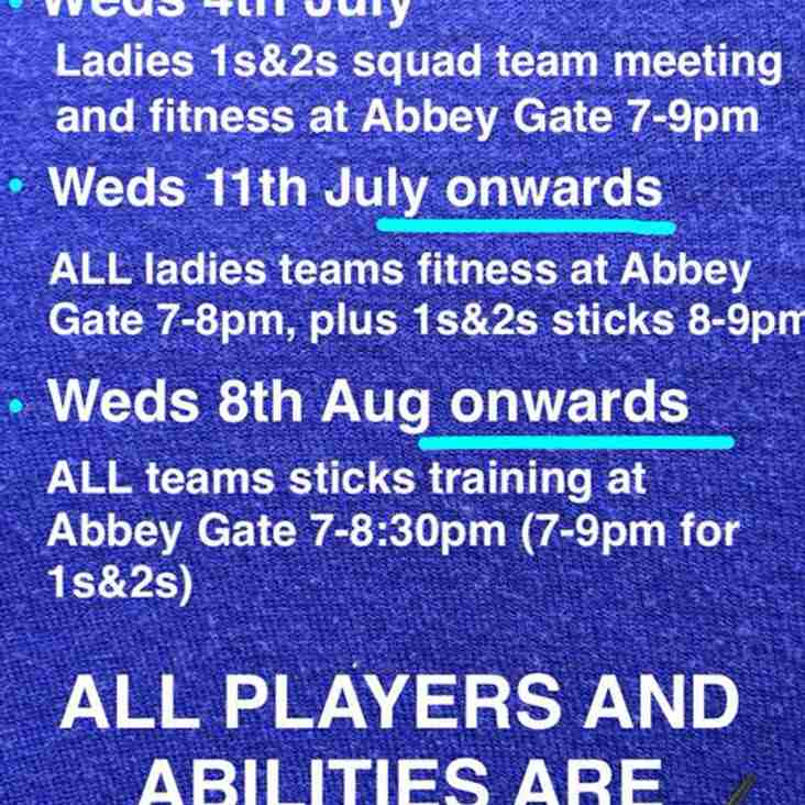 Ladies section pre-season is nearly here! Get the dates in your diary!