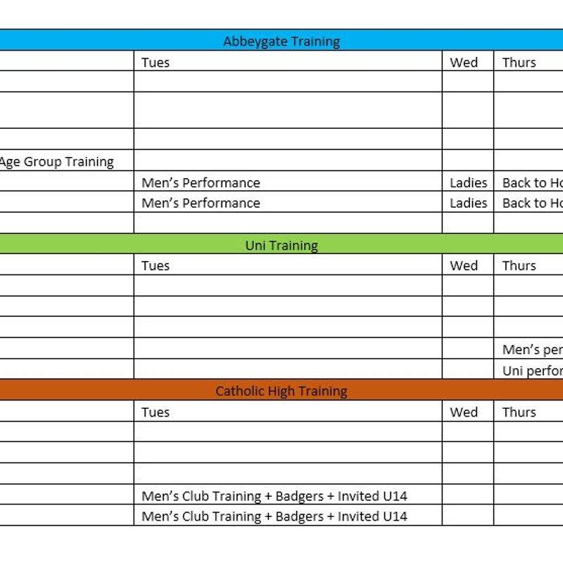 New Season Training Times