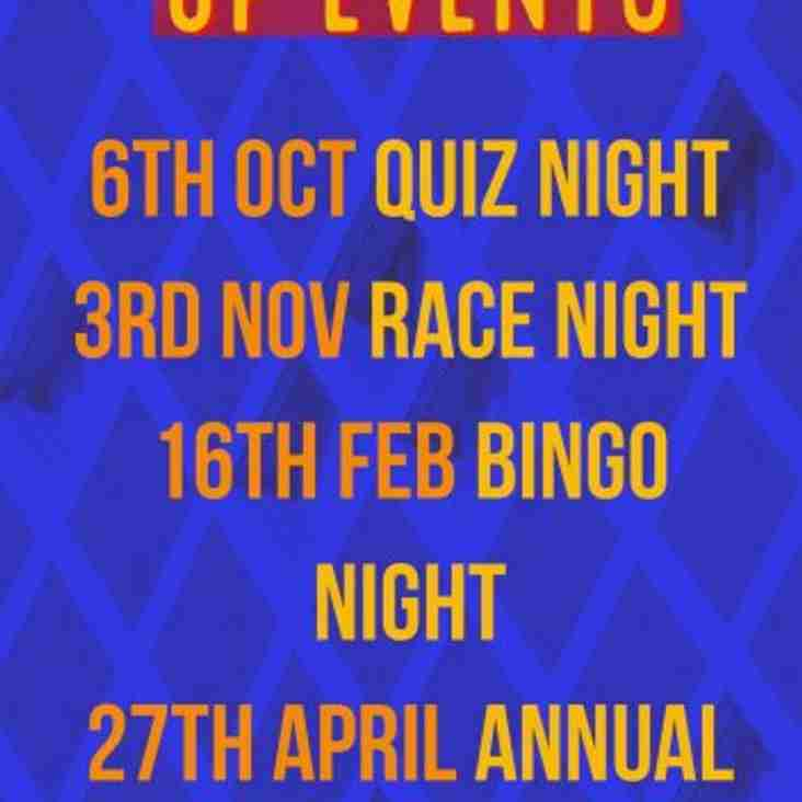 Calendar of Club Social Events