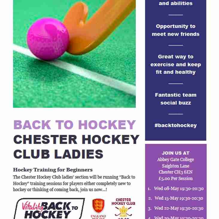 Back to Hockey, Chester Hockey Club Ladies - Hockey Training For Beginners - Begins Wednesday 8th May.