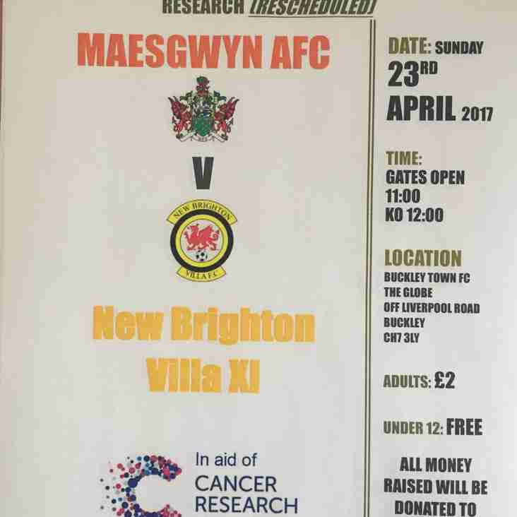 Do not forget to support re arranged Charity match in aid of Cancer Research UK today at The Globe