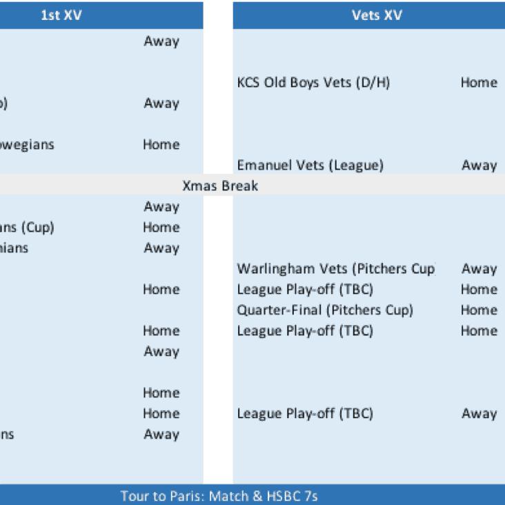 Updated Senior & Vets Fixtures