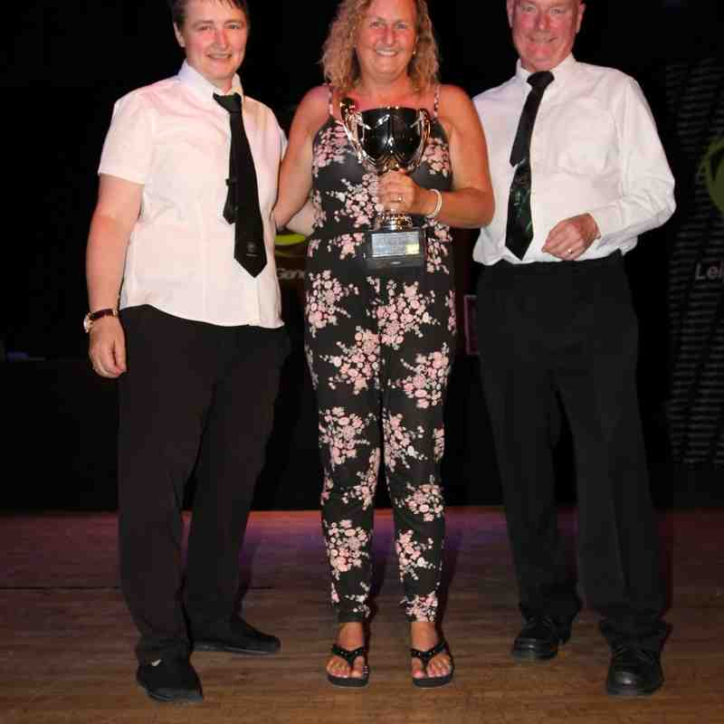 Pictured is Genesis Reserves Admin Angeleen Whyte Receiving The Soroptimist International of Leigh and District the Queens Diamond Jubilee Cup Female of the Season Award From Club Secretary Rob Atherton 2015/16