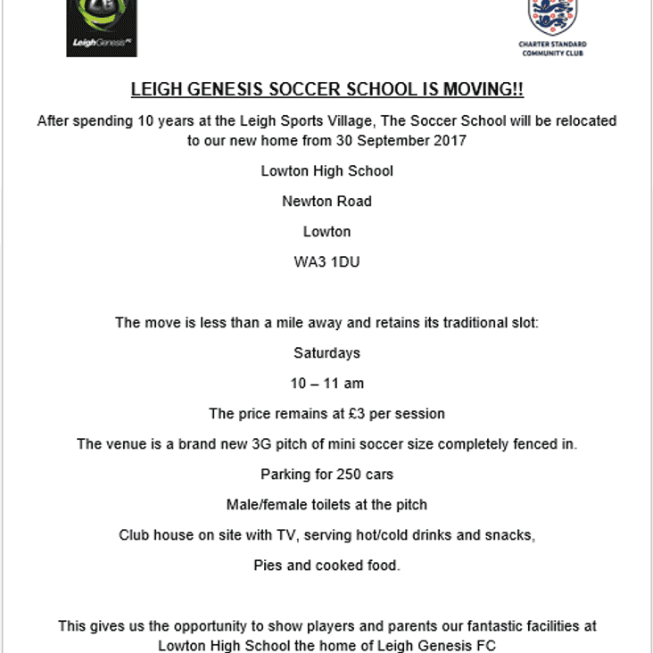 Leigh Genesis Soccer Academy is on the move...