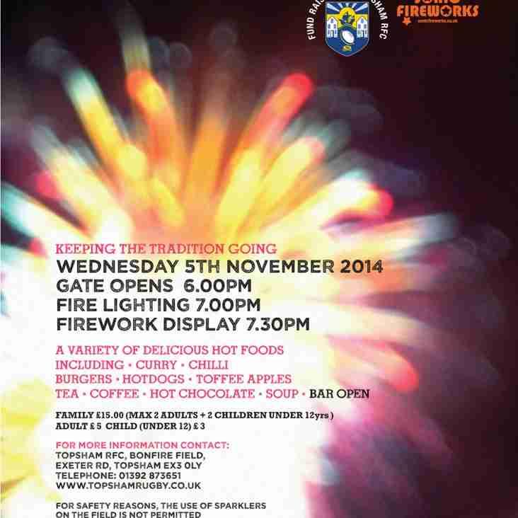 Bonfire Night @ Topsham RFC Wed 5th November 2014