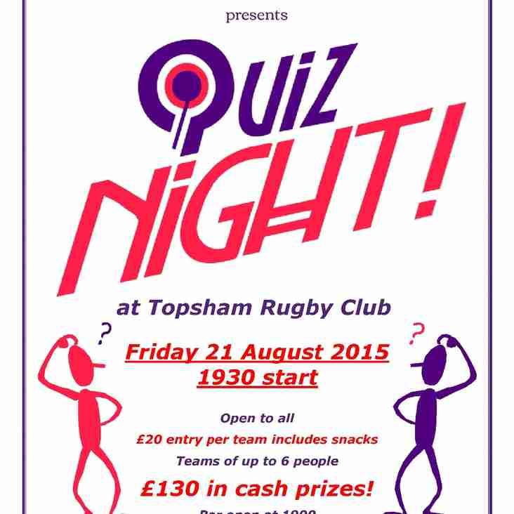 TRFC 'AUGUST' Quiz Night