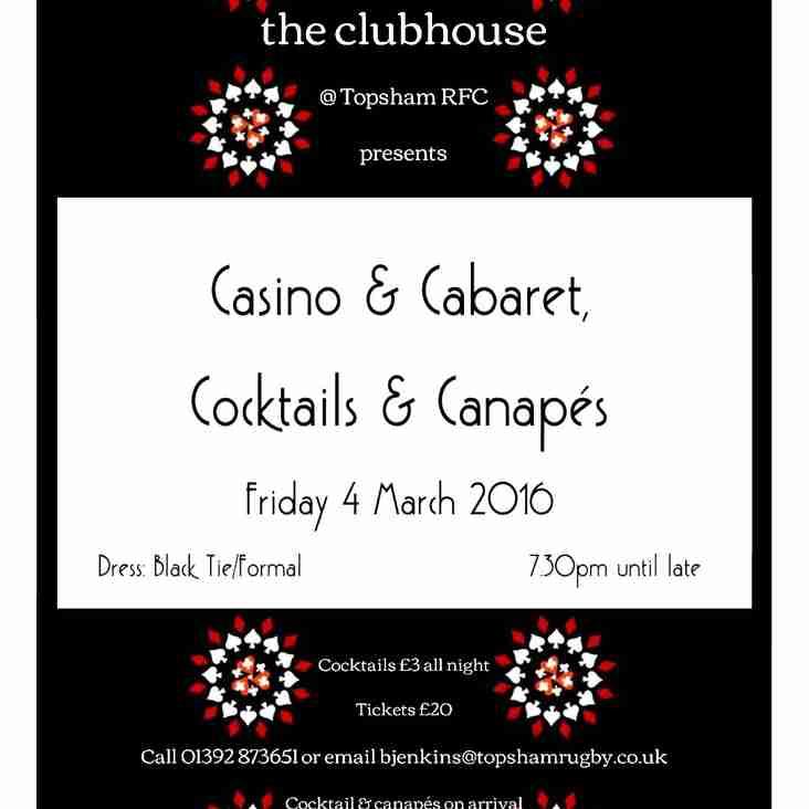 Casino & Cabaret, Cocktails & Canapes @ Topsham RFC