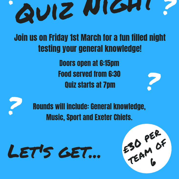 Quiz Night - Friday 1st March