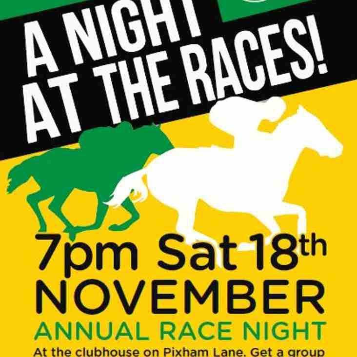 It's back....RACE NIGHT 18th November...!