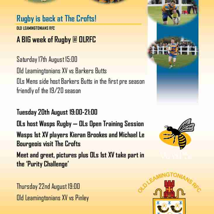 Rugby is back at The Crofts - 20th August join us