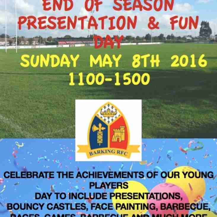 Barking RFC MMY end of season presentation and fun day - May 8th, 2016