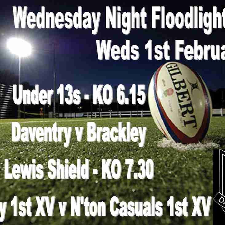 Wednesday Floodlight Rugby 1st February - Lewis Shield