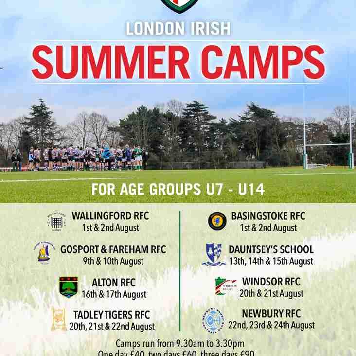 U7-U14 Summer Rugby Camp 9th & 10th August 2018