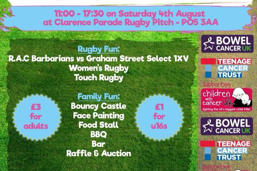 Rugby Against Cancer Fun Day on Saturday 4th August 2018