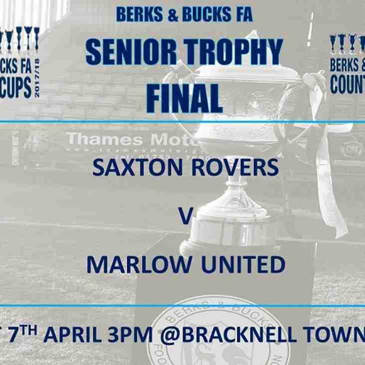 Berks & Bucks FA Senior Trophy Final - Date and Venue Changed