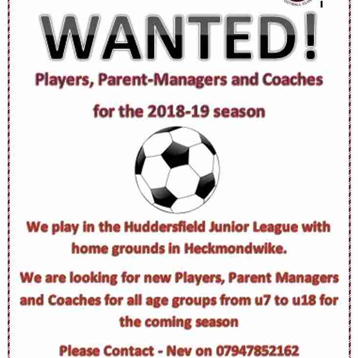 New Junior Players and Coaches wanted for the new season