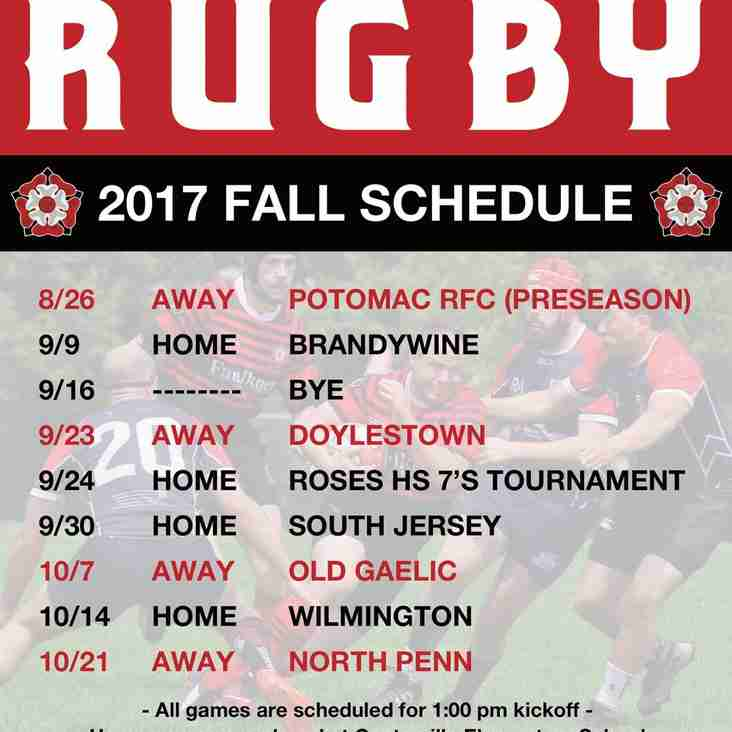 ROSES RUGBY MATCH SCHEDULE FALL 2017
