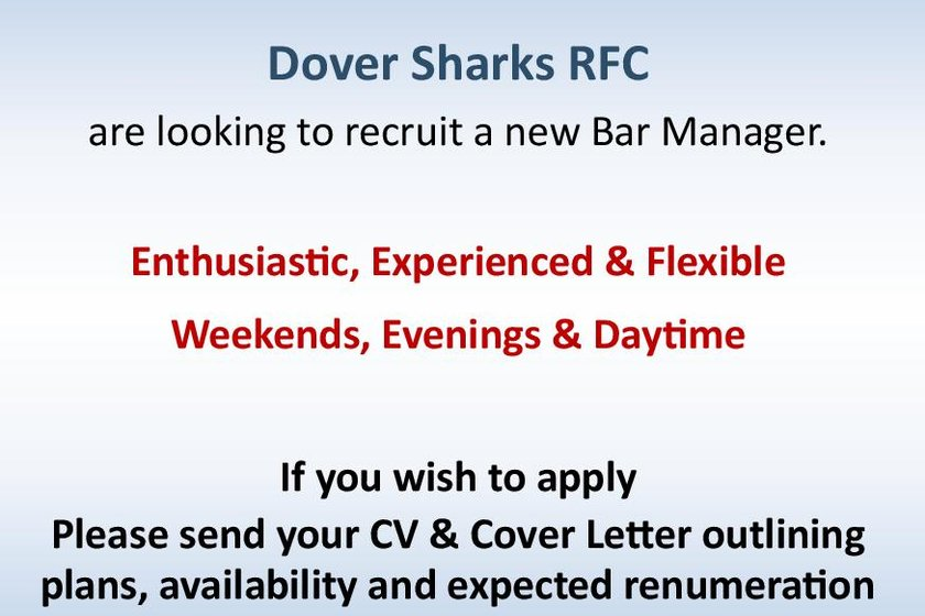 Dover RFC Job Opportunity - New Bar Steward Required