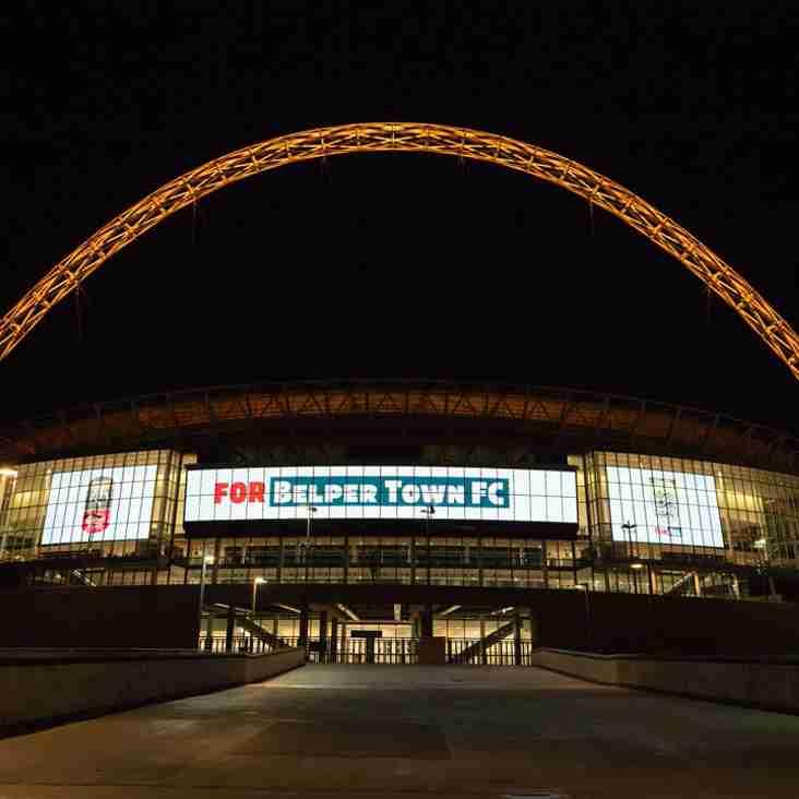 Wembley Stadium lights up for Belper Town Football Club