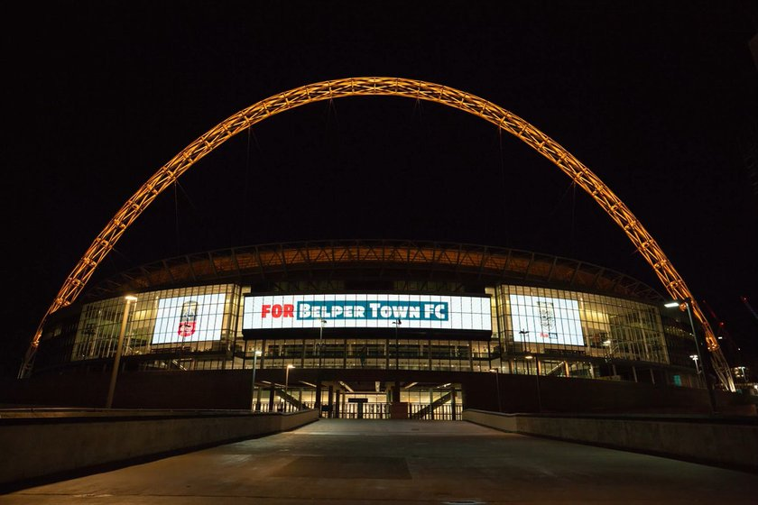 Wembley Stadium lights up for Belper Town Football Club