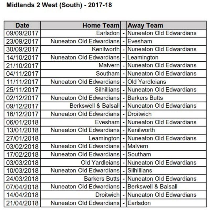 Midlands 2 West (South) Fixtures 2017-18 Season
