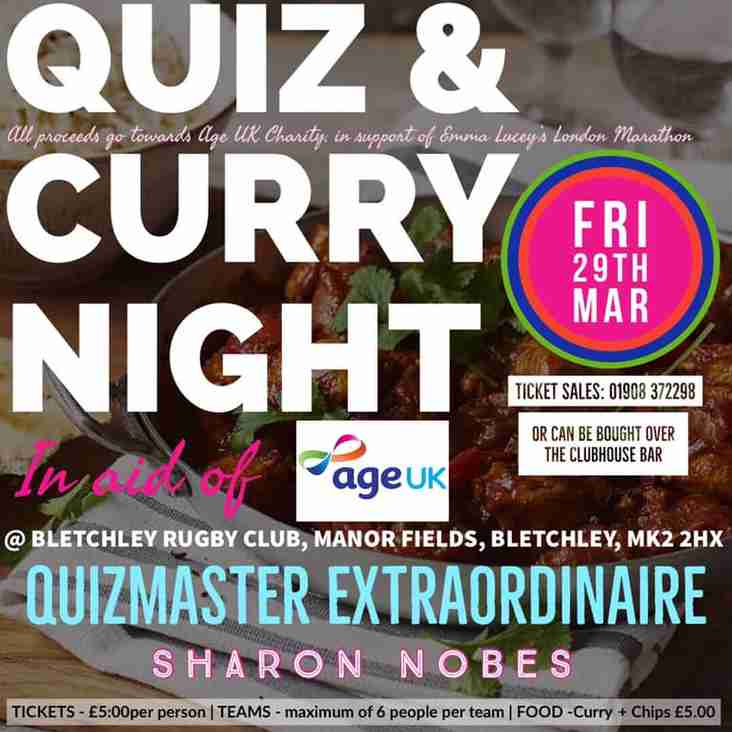 Charity Quiz & Curry Night - Friday 29th March