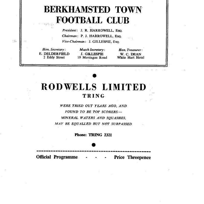 Memories of a 1960's teenage Berkhamsted Town fan – Part One