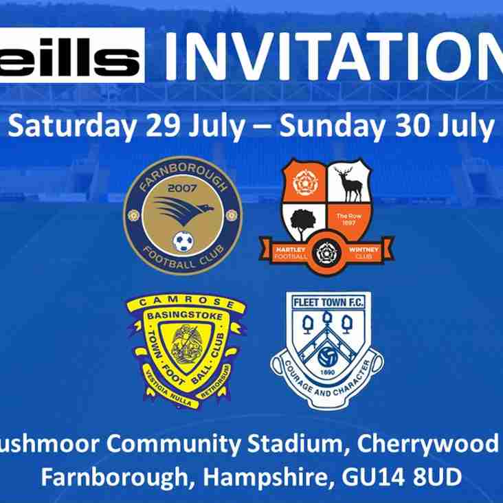 Fleet Town to Play in O'Neills Invitation Tournament 2017 (updated 26/05)