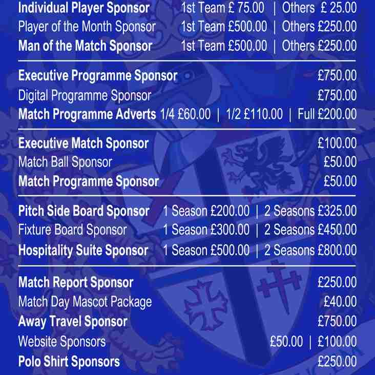 Advertising and Sponsorship Opportunities 2018-19