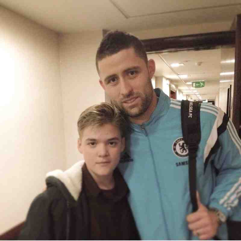 Jay (U14 Goalkeeper) with Chelsea Defender Gary Cahill
