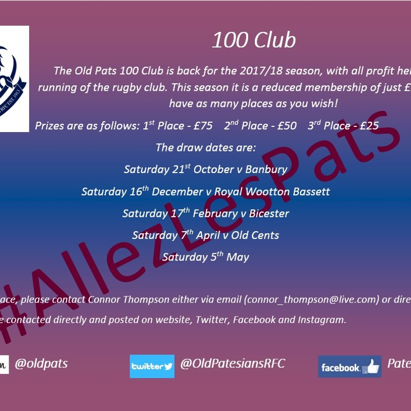 2017/18 100 Club - 14 Places Gone Already!