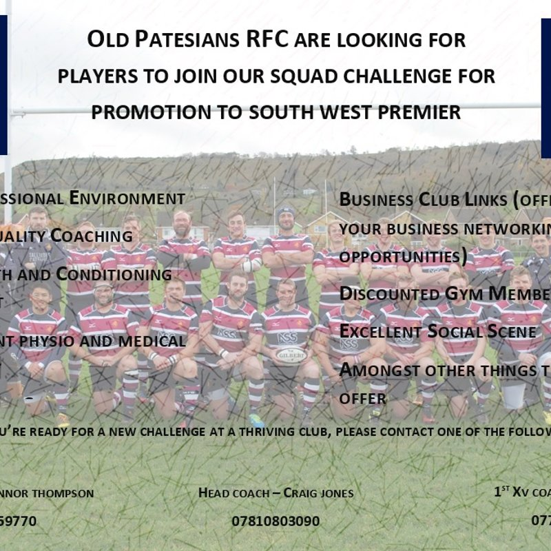 Want to be part of a promotion challenging squad?