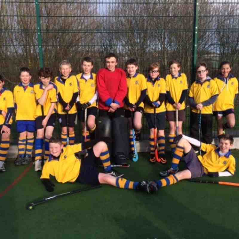 Under 14 Boys B team. Back left to right: Michael, Guy, Arthur, Edward, Oliver, Will (Capt), Alastair, Ben, Sean, George, Elise. 