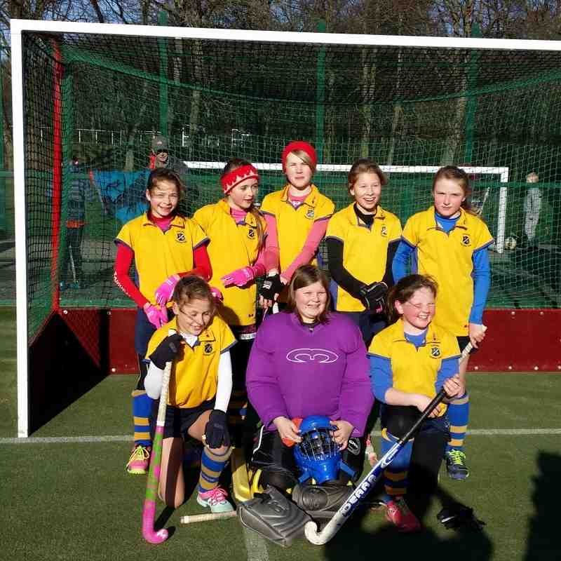 U12 A team: Back row: Olivia Borchard, Olivia Turner, Penny Baker, Connie Gill & Amy Flintoff