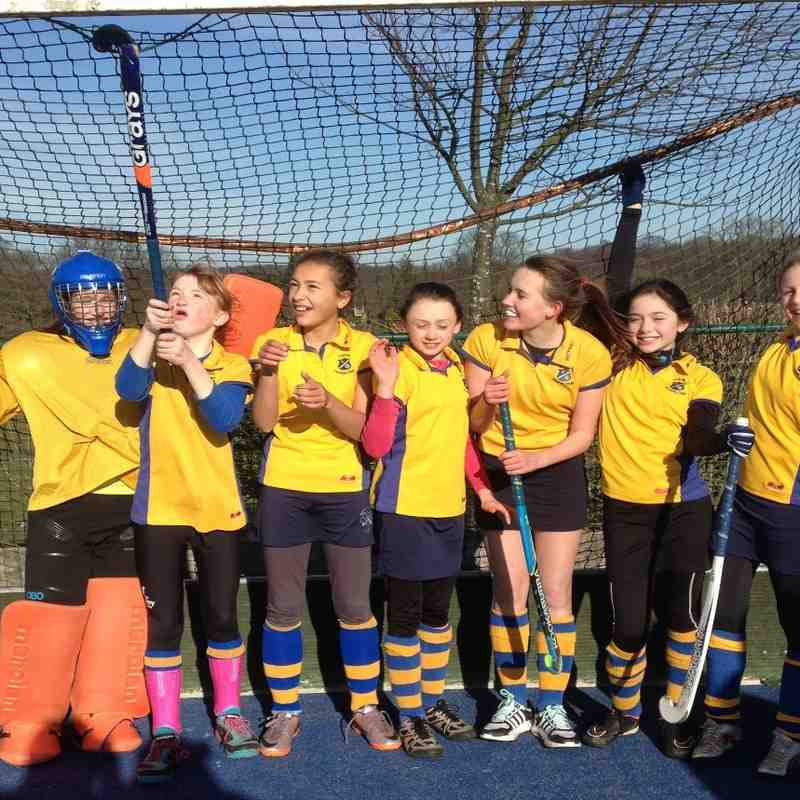 U12 B team: From left to right Olivia Docherty GK, Tilly Hall, Gabby Simpson, Annabel Glegg, Sophie Hunt, Hannah Slater, Fern Watson