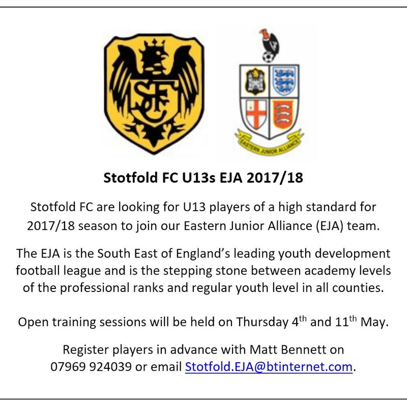Season 2017/18 Under 13 Eastern Junior Alliance open training sessions