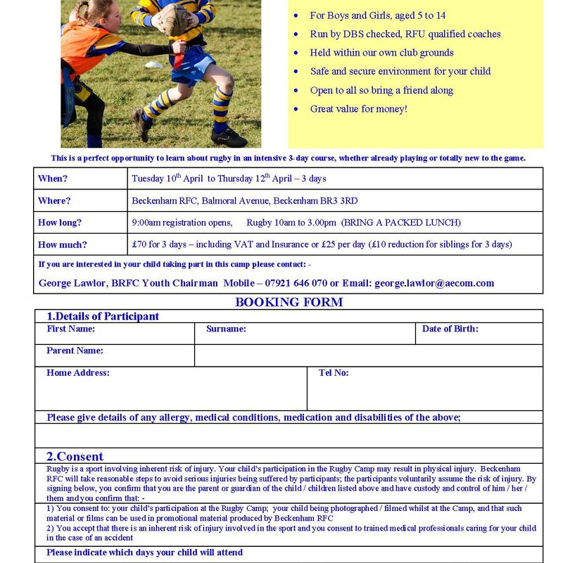 Easter Rugby Camp for Kids