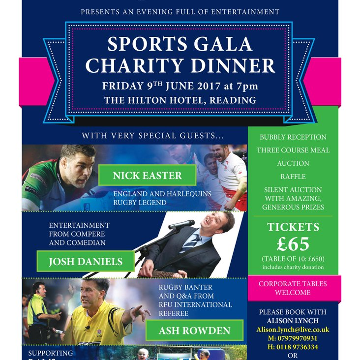 Sports Gala Charity Dinner - Friday 9th June at 7pm<