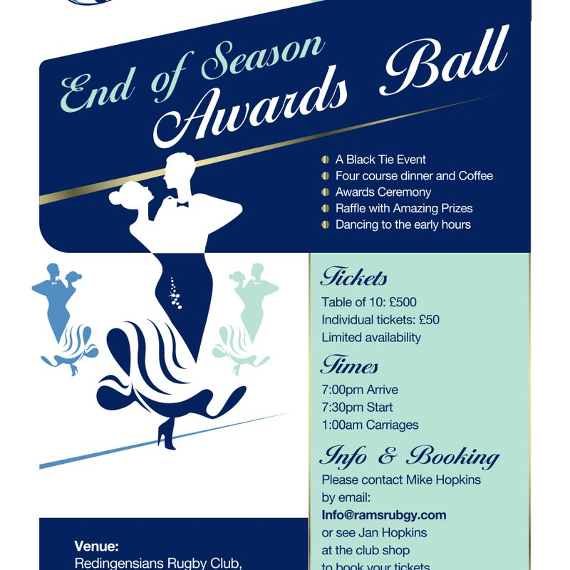 Rams End of Season Awards Ball - Saturday 20th May at 7pm