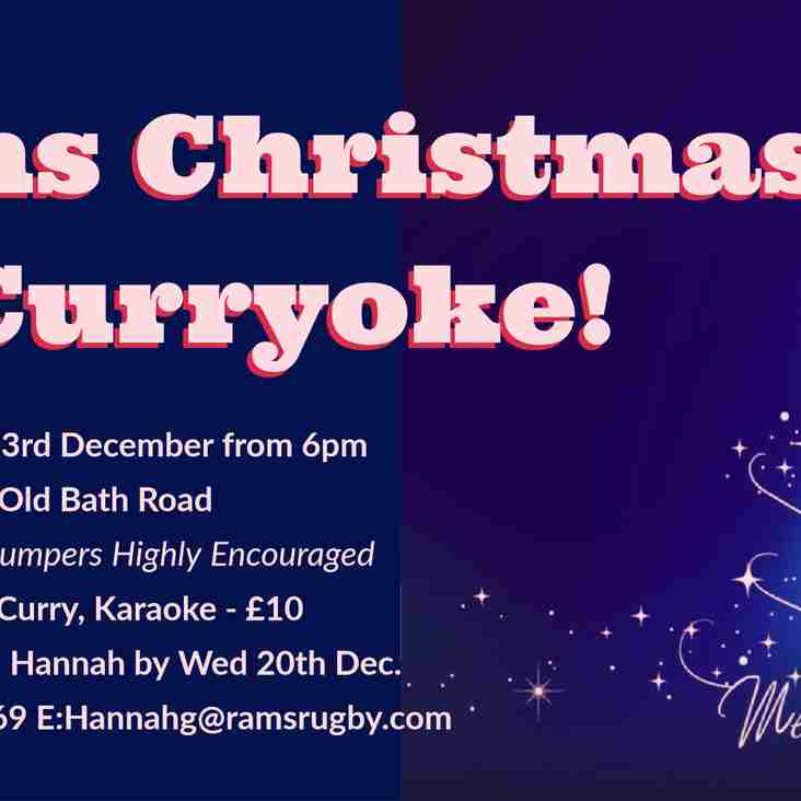 Rams Christmas Curryoke! - Saturday 23rd December from 6pm