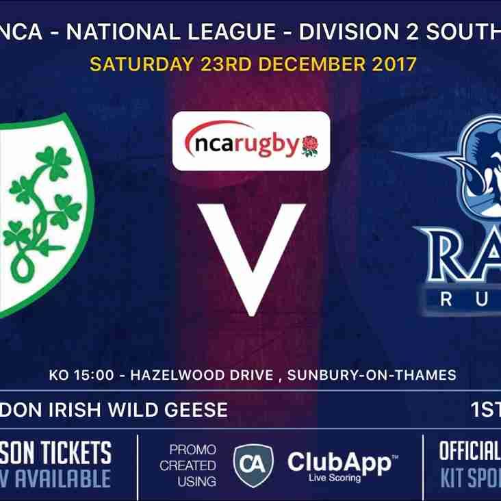 Rams 1st XV and Titans (2nd XV) away to London Irish Wild Geese - Sat 23rd Dec