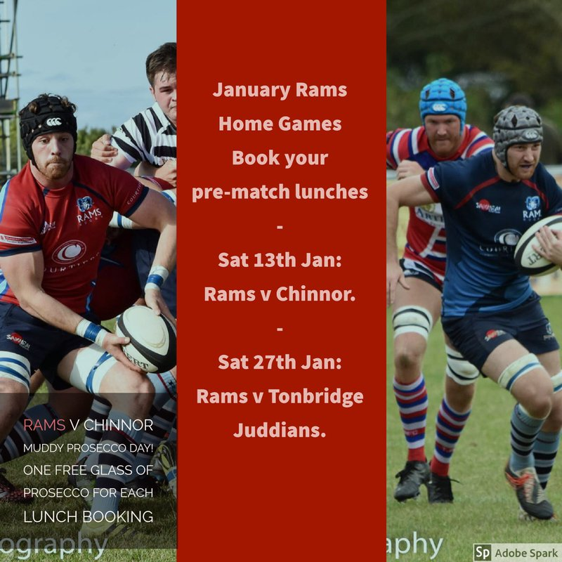 Exciting January home games - book your pre-match lunches!